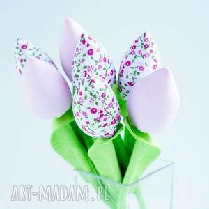 handmade dekoracje tulipany szyte bukiet 7 szt