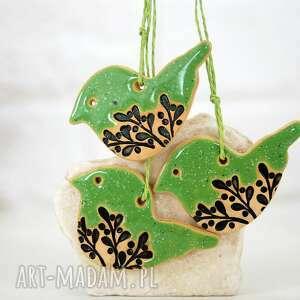 handmade pomysł na prezent 3 ceramiczne ozdoby choinkowe - ptaszki zielone
