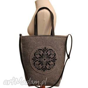 shopper bag szara rozeta, bag, torba, torebka, filc, filcowa torebki