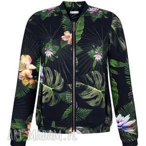 bluzy damska bluza bomberka czarna w liście i kwiaty na zamek, dzianinowa s