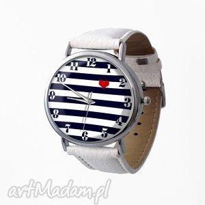 Nadmorski klimat - Skórzany zegarek z dużą tarczą, marynarski, paski, zegarek, navy