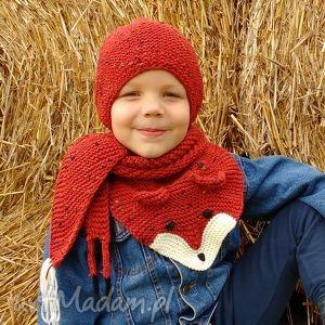 Prezent Lisi komplet, czapka, szalik, włniane, ciepłe, prezent, dziecko