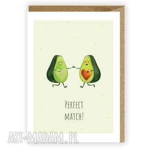 Kartka okolicznościowa, zakochane awokado, perfect match kartki