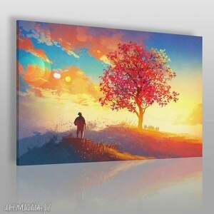 obraz na płótnie - pejzaż jesień 120x80 cm 21401, pejzaż, jesień, postać, drzewo