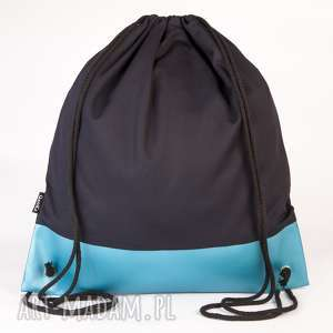 Turkusowo-czarny, torba, worek, plecak, ekoskóra
