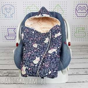 dla dziecka kocyk do nosidła samochodowego śpiące lisy granat, kocyk, minky
