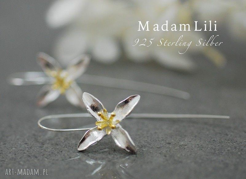 kolczyki kwiaty 925 srebrne lilia