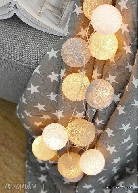 białe dla dziecka urodziny cotton ball lights by pretty
