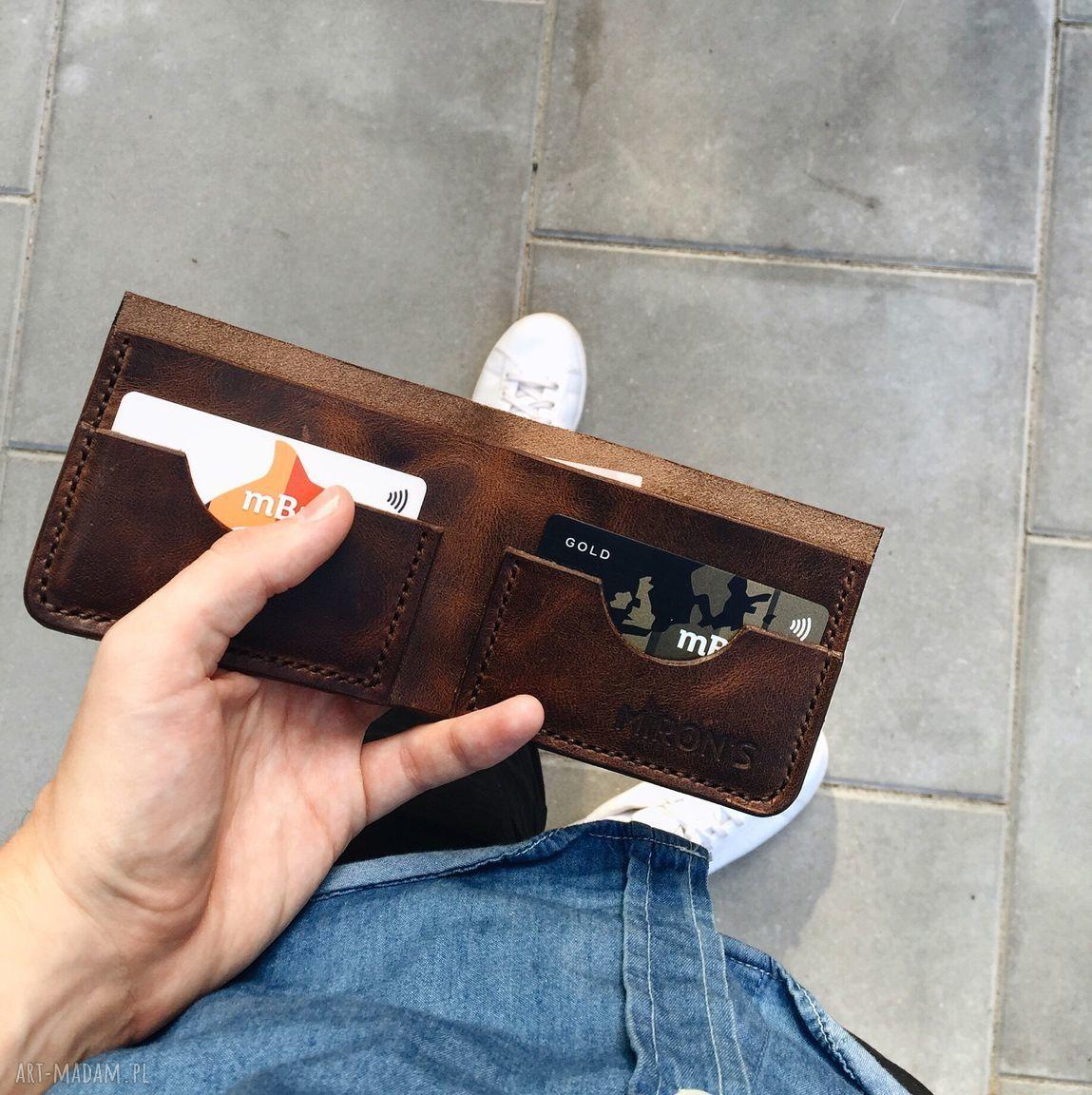handmade portfele portfelik bifold brązowy