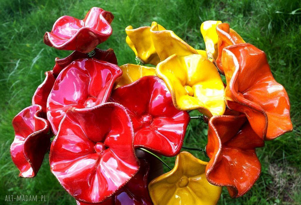 handmade ceramika ceramiczne kwiaty na druciku na rabatki do donicy na bukiety
