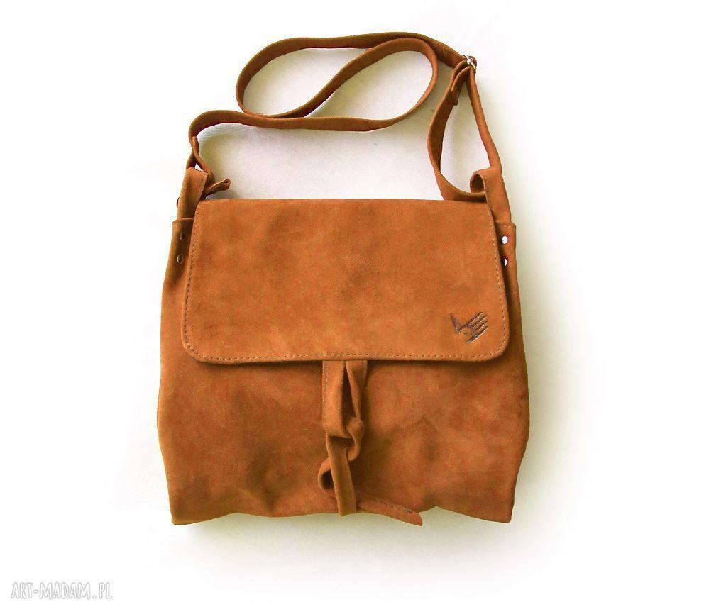 ręcznie robione na ramię surowa baronowa ruda zamszowa