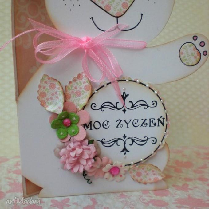 prezent święta kartka-zajączek