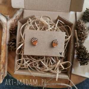 homemade by n kolczyki żołędzie, biżuteria naturalna, sztyfty, jesień, eco