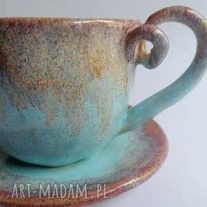 komplet słodko-różowo-turkusowo, ceramika rękodzieło, ceramiczna filiżanka