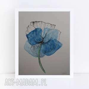niebieski mak-akwarela formatu a4, akwarela, abstracja, mak