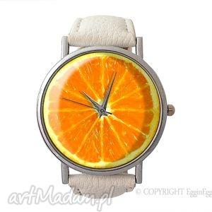 pomarańcza - skórzany zegarek z dużą tarczą egginegg