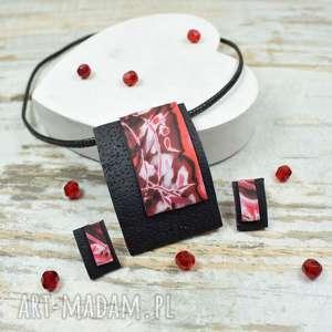 Prezent Geometria - nowoczesny komplet biżuterii czerwień i czerń