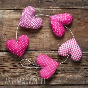 Prezent Sercowa różowa girlanda, 5 serc, dekoracja, prezent, serce