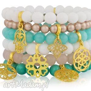 modowy zestaw sześciu bransoletek pastel shine rozety - złoto