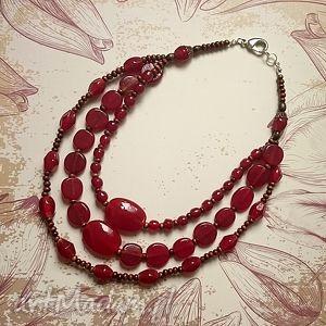 barbarossa - naszyjnik, dostojny, bogaty, prezent, czerwień, bordowy