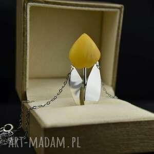 handmade naszyjniki naszyjnik bursztynowy tulipan srebro