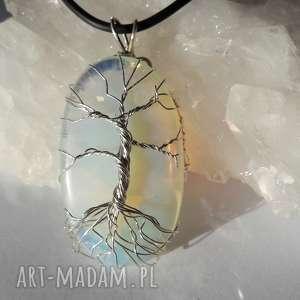 świąteczny prezent, wisior drzewo opalit, wire, wrapping, srebro, drzewo