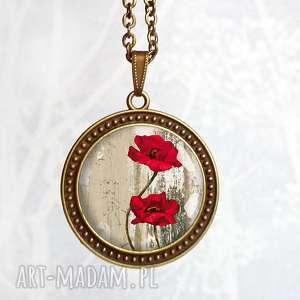 Prezent NASZYJNIK Z MAKAMI W SZKLE, kwiaty, kwiatki, polne, romantyczny, prezentowy