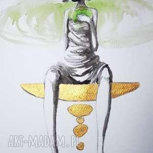 kobieta zen akwarela z dodatkiem złotej farby akrylowej artystki adriany laube