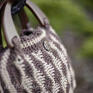 torebka ręcznie robiona z drewnianą rączką 100 bawełna, torebka, bawełna