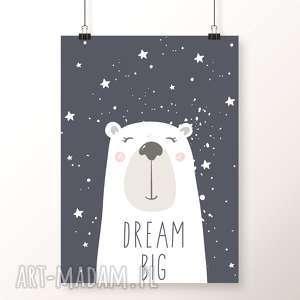 plakat dream big a3 - miś, dream, niedźwiedź, gwiazdy, gwiazdki, noc