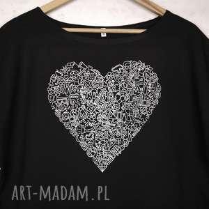 SERCE koszulka bawełniana z nadrukiem S/M czarna, bluzka, nadruk,