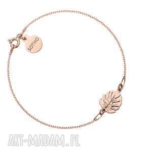 bransoletka z różowego złota z monsterą - różowe złoto