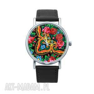 zegarek z grafiką kwiecisty, chusta, folklor, elegancki, prezent, upominek