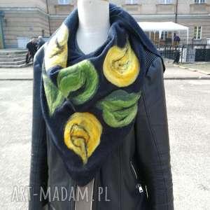 szara chusta handmade wełniana, wełna, kwiaty, folk, ludowa, orient, prezent