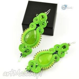 Soczyście zielone długie kolczyki soutache - ,kolczyki,sutasz,soutache,wiosenne,długie,