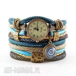 zegarek - bransoletka w kolorach morskim i beżowym, bransoletka, damski