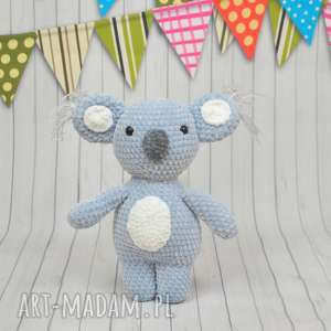 Szydełkowy koala z dedykacją, miś, koala, szary, szydełkowy, personalizowany
