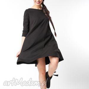 l/xl sukienka typu klosz wiosenna czarna, bawełna, dzianina, eko, wiosna, luźna
