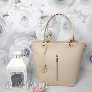 ręcznie wykonane torebki manzana kuferek złote dodatki hot beż jasny