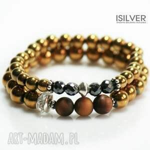 sokole oko i złoty hematyt bransoletka, srebro, złoto, sokole, prezent