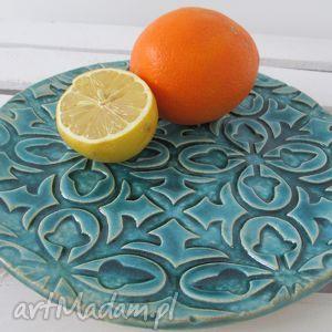turkusowa patera, ceramiczny, talerz, turkusowy, niebieski ceramika