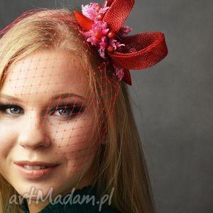 ozdoby do włosów czerwony zawijas, fascynator, czerwony, woalka, pod choinkę prezent