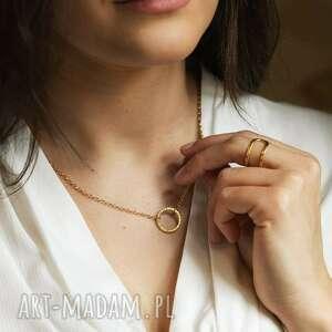naszyjniki naszyjnik kółko złocone - 15 mm, złocony, złoty