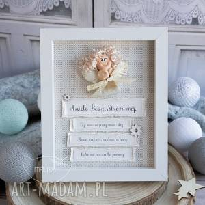 ramka z aniołkami, piękny prezent dla dziecka - narodziny, chrzest, roczek