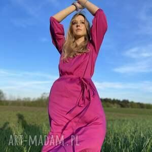 świąteczny prezent, różowa sukienka, maxi, boho, pink dress, wiskoza sukienka