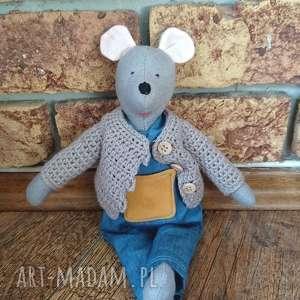 Myszka Aleks, ręcznie-robiona, przytulanka, zabawka, myszka, dla-chłopca