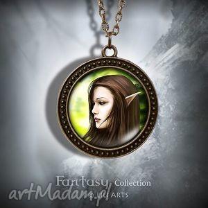 handmade naszyjniki naszyjnik, medalion - elf antyczny brąz zdobiony