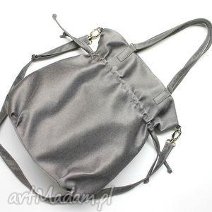 hand-made na ramię hobo sack - sakiewka - tkanina szara