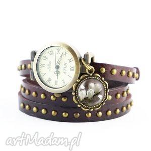 Bransoletka, zegarek - Magnolia brązowy, nity, skórzany, bransoletka,