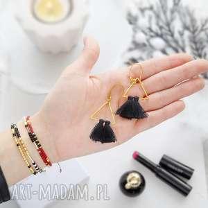 Kolczyki Boho - Black and Gold, kolczyki, ultralekkie, boho, chwosty, biżuteria,